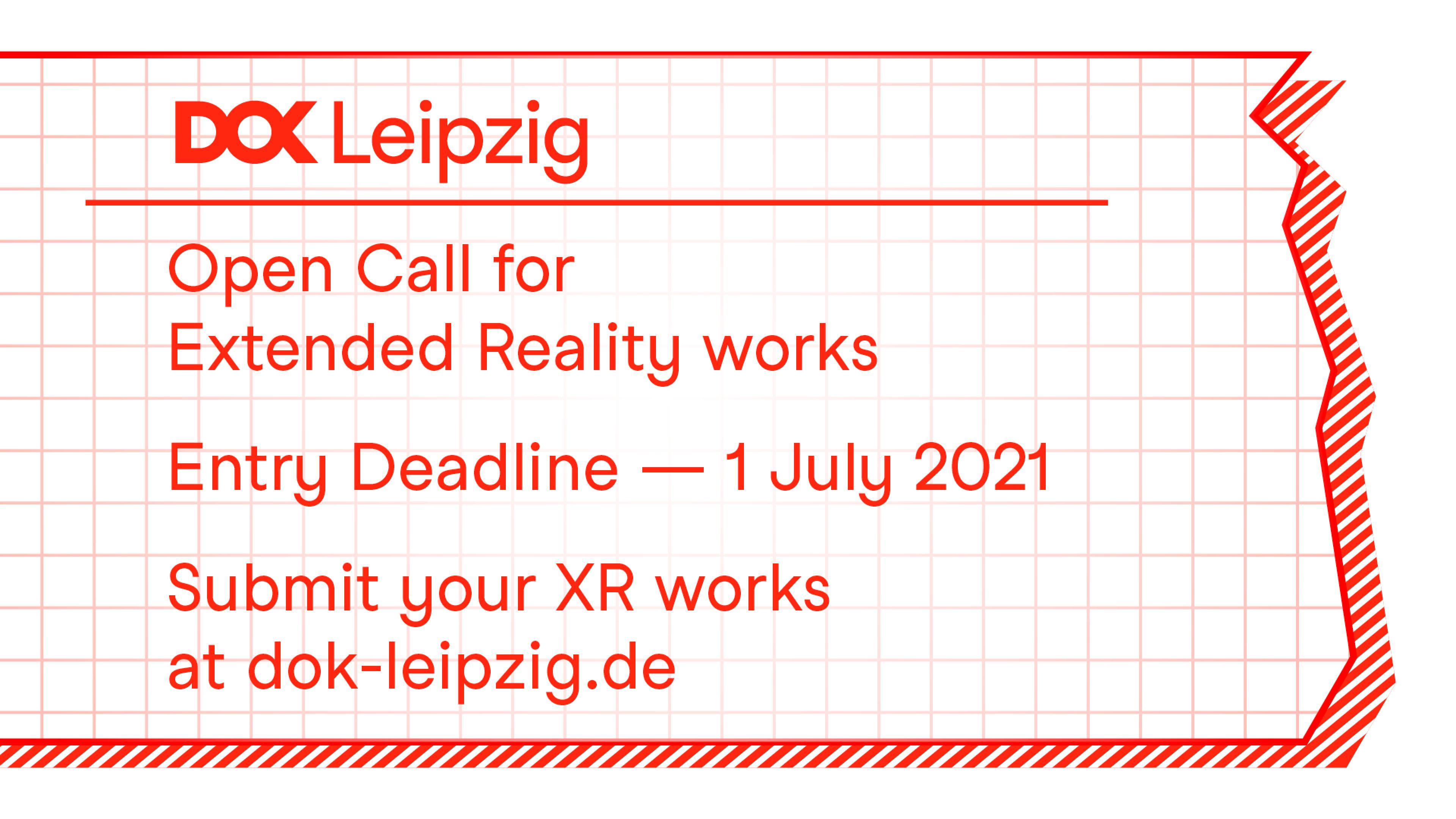 Illustration eines Abreißzettels auf Karopapier mit Text: Open Call for Extended Reality works. Entry Deadline 1 July 2021.