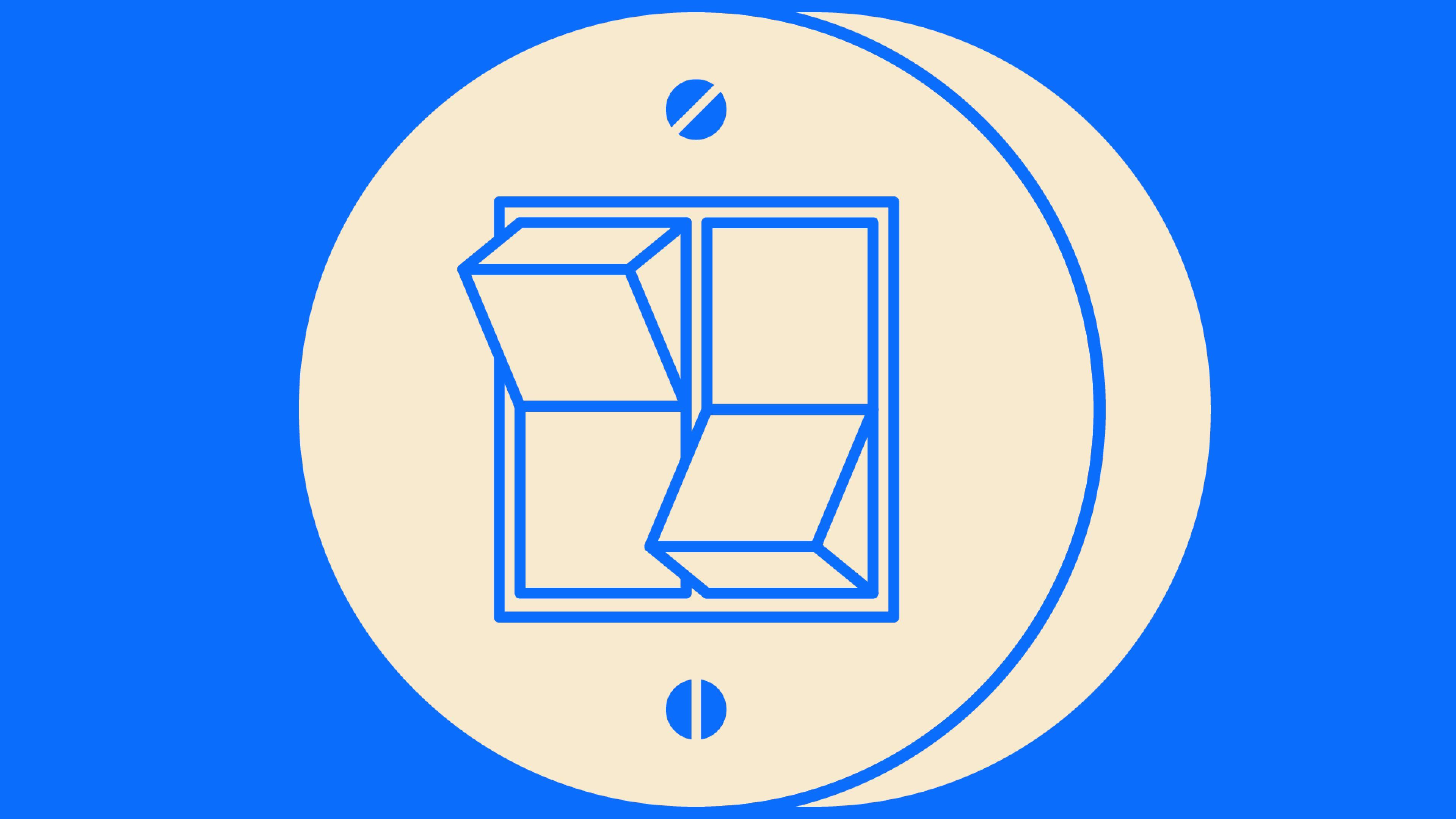 Ein runder Doppelschalter im Retrodesign. Der Schalter links ist nach unten gekippt, der Schalter rechts nach oben.