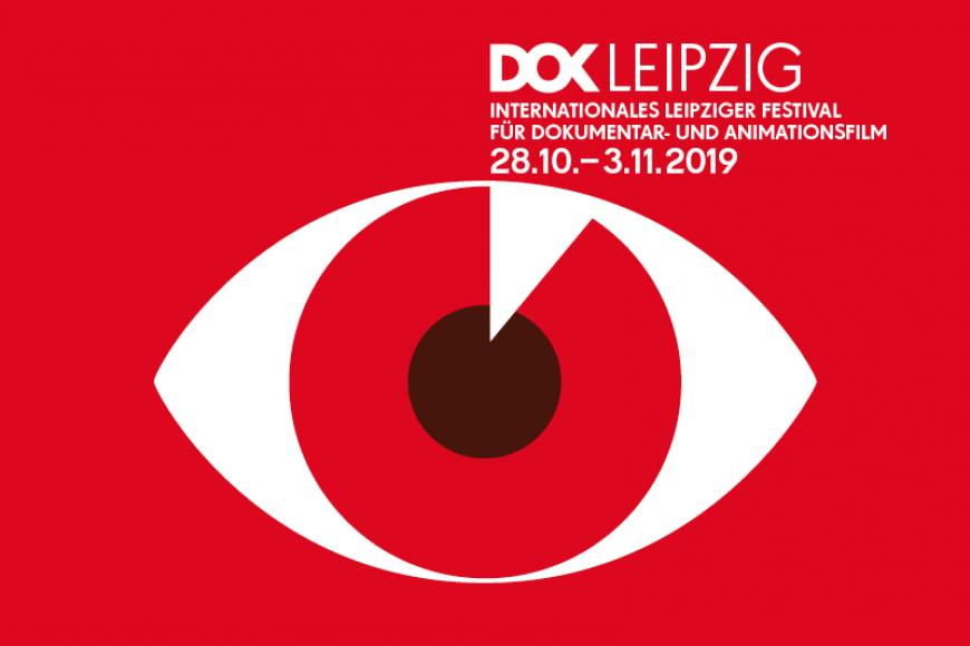 Graphik in red with a big eye and Typo saying: DOK Leipzig, International Festival for Documentary and animated film. 28/10 – 3/11.